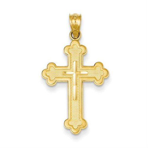 14KYG Brilliant Cut Budded Cross Pendant- 1 1/8""