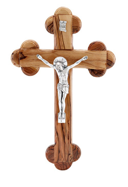 Olive Wood & Pewter Wall Crucifix- 8 1/2 x 5 1/2""