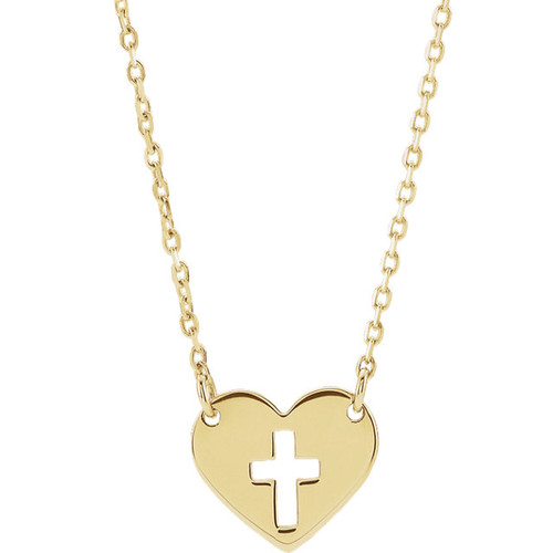 14KYG 10mm Pierced Cross Heart Pendant with Chain