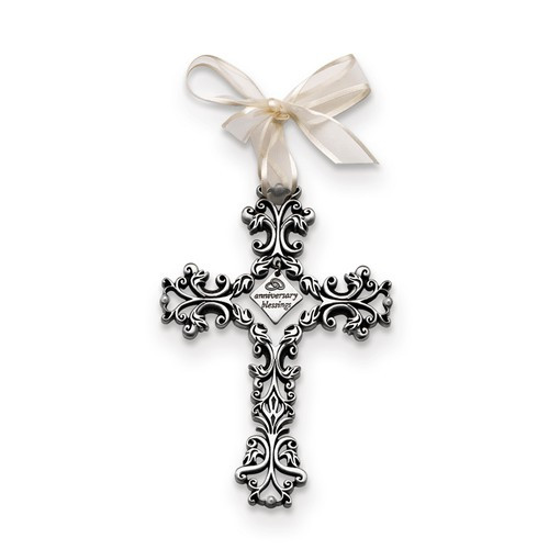 """""""Anniversary Blessings"""" Silver Hanging Wall Cross- 5"""""""
