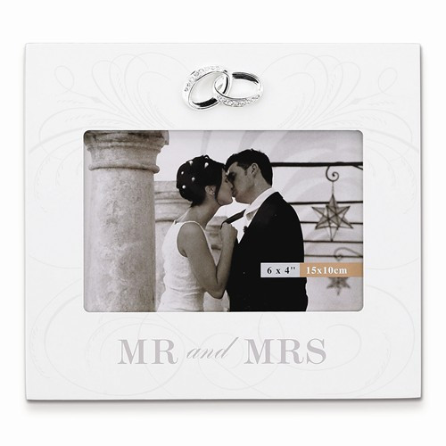 """""""Mr and Mrs"""" Ivory Wood  6 x 4 Frame with Wedding Bands Accent"""