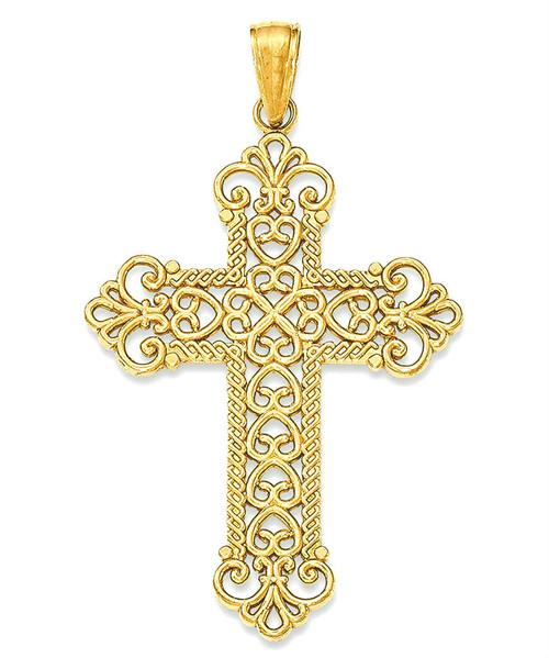 "14KYG Royal Swirl Cross- 1 3/8"""