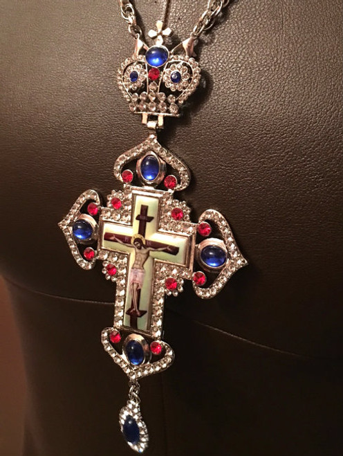 Jeweled and Enameled Pectoral Cross & Chain