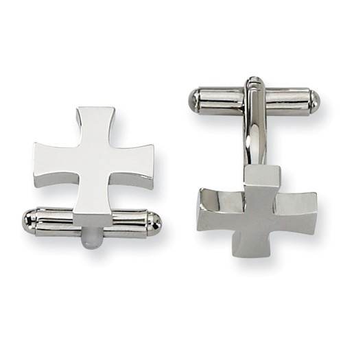 Stainless Steel Simple Cross Cuff Links