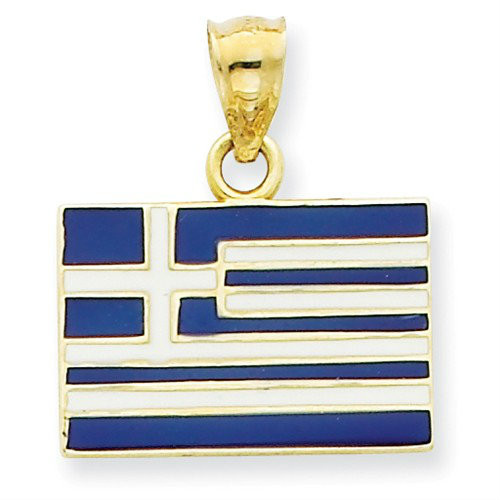 14KYG Solid Enameled Greece Flag Pendant