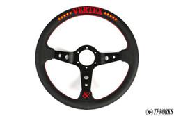 Vertex 10 Star 330mm Steering Wheel Black Leather w/ Red Stitch