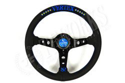 Vertex 330mm Steering Wheel Black Leather Blue Stitching