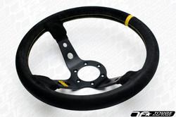 OMP Corsica 350mm Steering Wheel - Black Suede with Deep Black Spokes