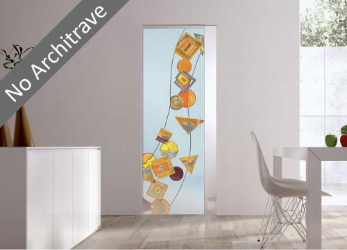 Syntesis® Flush Glass Pocket Door System Handpainted GEOMETRIE