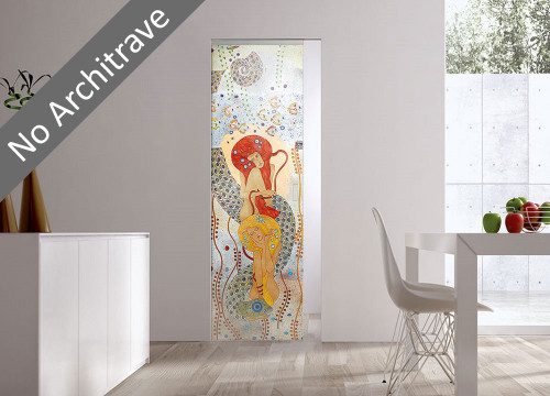 Syntesis® Flush Glass Pocket Door System Handpainted NINFE
