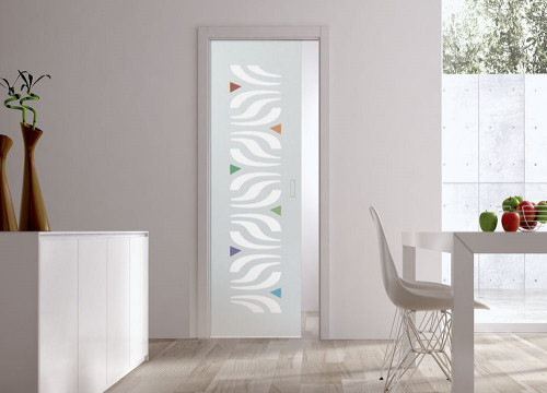 Classic Glass Pocket Door System Patterned ALA