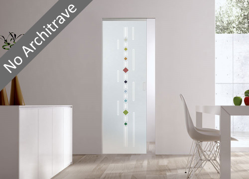 Syntesis® Flush Glass Pocket Door System Patterned CORSIE