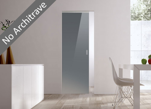 Syntesis® Flush Glass Pocket Door System Coloured GREY (RAL 7024)
