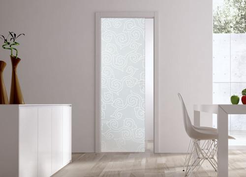 Classic 10mm Glass Pocket Door System Patterned BIRMANIA