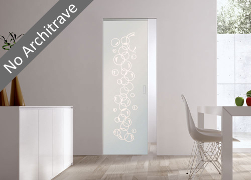 Syntesis® Flush Glass Pocket Door System Patterned BOLLE