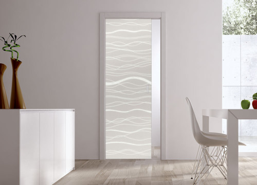 Classic 10mm Glass Pocket Door System Patterned ACQUA