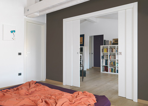 Create multi-functional spaces with a double telescopic pocket door system for ex&le a ... & Eclisse Double (4 door panel) Telescopic Pocket Door System Pezcame.Com