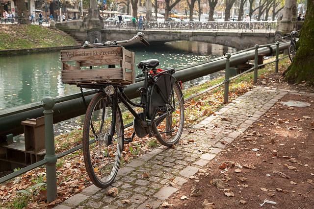 Biking in Dusseldorf, Germany