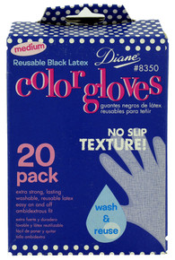 Diane Reusable Black Latex Color Gloves, 20 pack, Medium