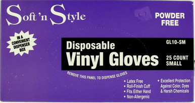 Soft 'n Style Powder Free Disposable Vinyl Gloves GL10-sm, 25 count