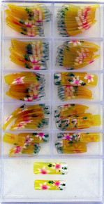 100 PCS Artificial Nails set in a handy acrylic box Nails are clear yellow with white and pink flowers