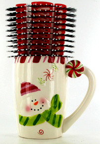 Spornette Christmas Mug with Six Red and White Brushes