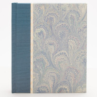 Small Blank Sketchbook in blue Peacock Marble and cloth binding