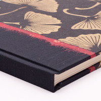 Photo Album in Black and Gold Ginkgo Leaf with Glassine Interleaves