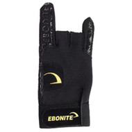 Ebonite React/R Glove Left Hand  Gives you complete control throughout your entire swing  Helps to prevent painful calluses on the hand and outside fingers Special gripping compound for better control Adds lift and revs Elastic wristband with hook and loop closure Leather palm and fingers All openings are leather-lined for strength Easy to remove between frames Available for right or left hand; in small, medium, large, and extra-large SKU: 850l Product ID: 5698