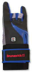 Brunswick Grip All Glove X Left Hand  The Brunswick Grip All Glove X is a glove and wrist positioner in one. The glove part offers protection as well as a textured gripping surface that helps extend contact with your bowling ball. The wrist positioner part provides support as well as consistency and control.  LEFT HAND  Color: Black/Blue/Grey Protects hands and fingersTextured gripping surface increases contact with the bowling ball Extra gripping power with bowling ball surface Support on back of wrist for improved shot repeating and control Helps promote proper wrist position Easy to put on and remove quickly SKU: BRU56B40904LH Product ID: 10234