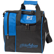 """The KR Rook is a great single tote that provides separate compartments for a ball and shoes. This bag is offered in a variety of colors to match your shoes or ball or both or neither.  Color: Royal/BlackAdjustable shoulder strap.Zippered, side shoe compartment holds up to size 11.Foam ball insert.Fabric: 600DDimensions: 11.5""""W x 12""""D x 12""""H"""