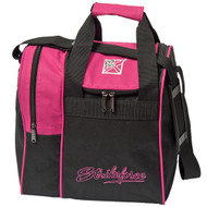 "The KR Rook is a great single tote that provides separate compartments for a ball and shoes. This bag is offered in a variety of colors to match your shoes or ball or both or neither.  Pink/BlackAdjustable shoulder strap.Zippered, side shoe compartment holds up to size 11.Foam ball insert.Fabric: 600DDimensions: 11.5""W x 12""D x 12""H"