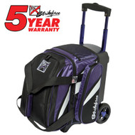 "The KR Strikeforce Cruiser Single Roller can hold size 13 shoes, 1 bowling ball, and all your accessories for a fun night of bowling! The smooth wheels and the retractable handle makes it easy to transport anywhere.  Color: Black/Purple/WhiteFeatures 4"" EVA Foam/PP Core Spyder Wheel For A Smooth Quiet RideSeparate Top Shoe CompartmentFront Accessory PocketRetractable Square Locking Handle Extends To 39""600D FabricHolds Up To Size 13 Shoes5 Year Manufacturer's Limited Warranty"