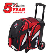 "The KR Strikeforce Cruiser Single Roller has been designed and assembled in the USA! This bag is great for a bowler who only needs one ball and a pair of shoes for bowl night.  Color: Black/Red/WhiteFeatures 4"" EVA Foam/PP Core Spyder Wheel For A Smooth Quiet RideSeperate Top Shoe CompartmentFront Accessory PocketRetractable Square Locking Handle Extends To 39""600D FabricHolds Up To Size 13 ShoesDimensions: W 10"" X D 17"" X H 20"""