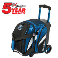 "The KR Strikeforce Cruiser Single Roller has all you need in a bag for a good time! This bag has a shoe compartment that holds up to a size 13 shoe, and accessory pocket for all your bowling needs.  Color: Black/Blue/WhiteFeatures 4"" EVA Foam/PP Core Spyder Wheel For A Smooth Quiet RideSeparate Top Shoe CompartmentFront Accessory PocketRetractable Square Locking Handle Extends To 39""600D FabricHolds Up To Size 13 ShoesDimensions: W 10"" X D 17"" X H 20"""