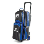 The Brunswick Edge Triple Roller is top of the line. This bag features 5 inch PVC wheels, three different accessory pockets and a separate shoe compartment that can store shoes up to a men's size 15 shoes. Brunswick also offers a 5 year limited manufacturer's warranty.  Color: BluePremium flush retractable handle system5 inch PVC wheelsTwo side accessory pocketsSeparate shoe compartment that holds up to men's size 15 shoeSeparate large top accessory pocketEmbroidered logos600D / 840D FabricsWarranty: 5 year limited manufacturer's warranty