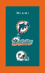 """NFL Miami Dolphins towel.  Colorful designs16"""" x 26"""" velour towelIndividually packaged"""