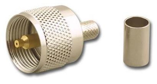 Crimp-On PL-259 UHF-Male Coaxial Connector for RG-8 - UHF-7606