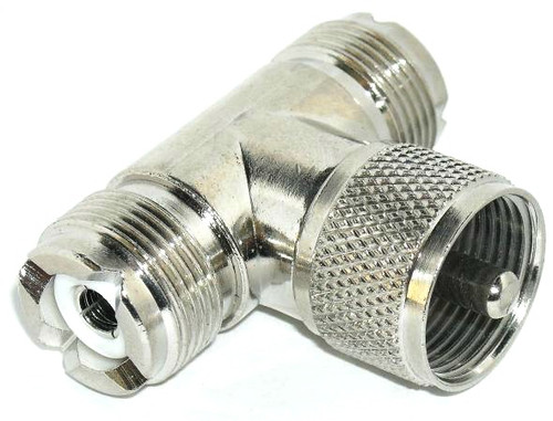 UHF Female / Male / Female Tee Coaxial Adapter Connector