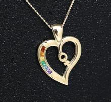 9ct Gold Female Rainbow Heart pendant set with Semi Precious Natural stones