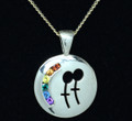 Sterling Silver Rainbow Female symbol necklat set with Semi Precious Natural stones 25mm diameter