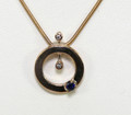 9ct Yellow Gold Sapphire & Diamond Pendant on a 9ct Snake Chain