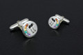 Sterling Silver Male Rainbow Cuff Links set with Semi Precious Natural stones 14mm