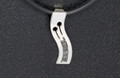 Sterling Silver male symbol necklat  Large 30mm on a cord set with 5 x Black Diamonds