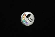 Sterling Silver male/male Rainbow Tie Tak set with Semi Precious Natural stones
