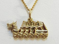 9ct Gold Large Dragon Boat Necklat G-2228