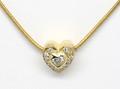 18ct Heart diamond .10ct, and pave set diamonds