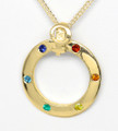 9ct Gold Lesbian Circle of life Rainbow stones 1135