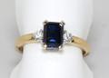 18ct Natural Australian Blue Sapphire & Diamond Ring 1937