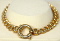 9ct Solid Gold Bracelet with extra large Euro bolt ring